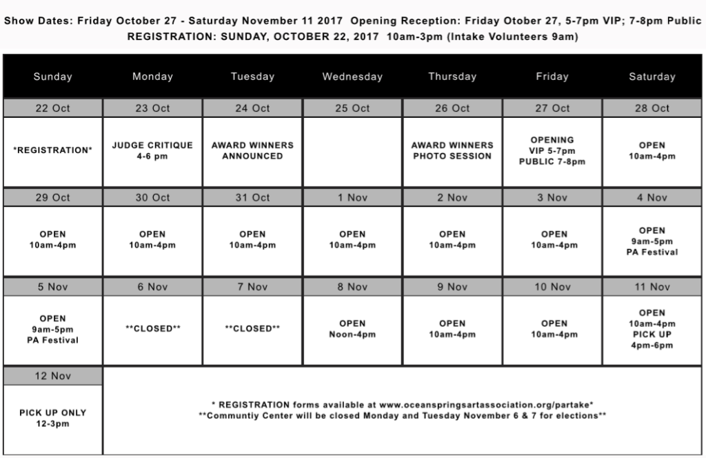 P'ARTake Schedule 2017